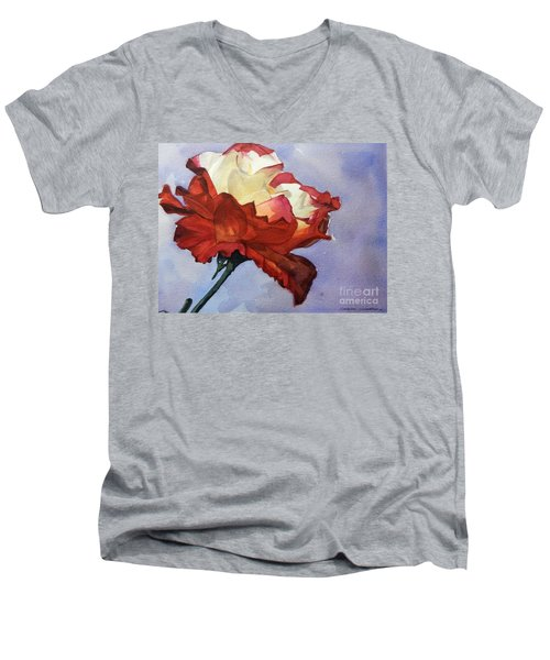 Watercolor Of A Red And White Rose On Blue Field Men's V-Neck T-Shirt