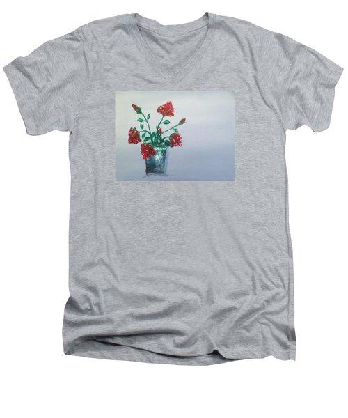 Red Roses In Silver Pot Men's V-Neck T-Shirt