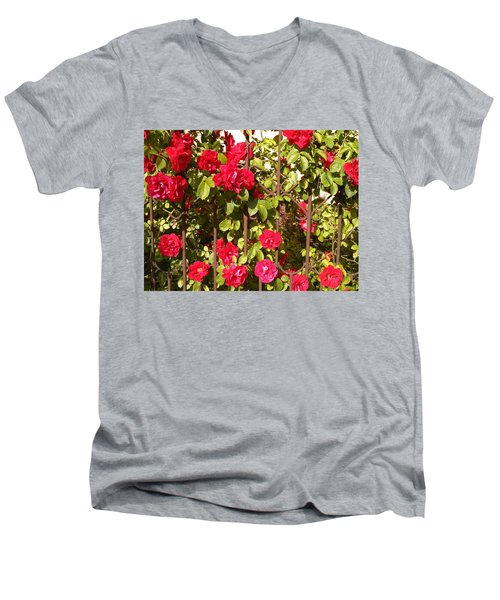 Red Roses In Summertime Men's V-Neck T-Shirt by Arletta Cwalina