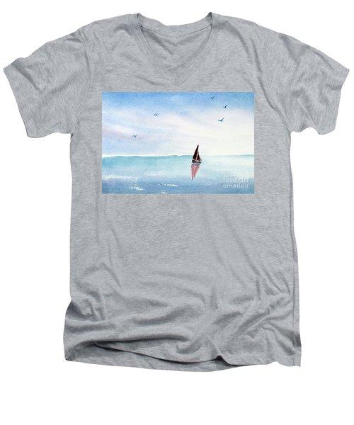 Red Sails On A Blue Sea Men's V-Neck T-Shirt