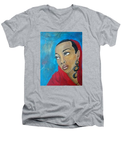 Red Scarf Men's V-Neck T-Shirt by Jenny Pickens