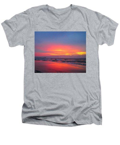 Red Sky At Morning Men's V-Neck T-Shirt by Betty Buller Whitehead