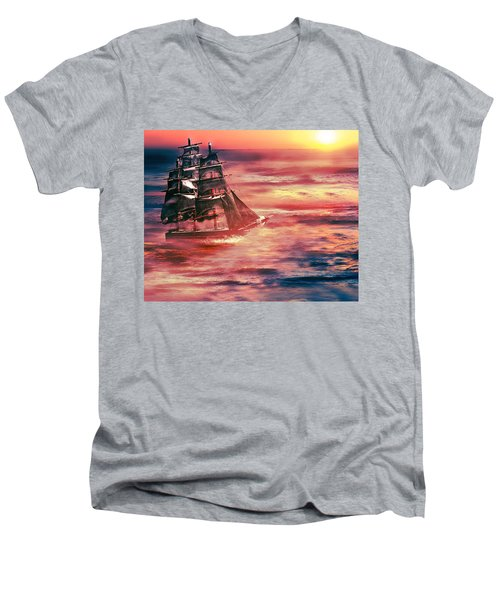 Red Sky In The Morning.... Sailors Take Warning Men's V-Neck T-Shirt by Gray  Artus