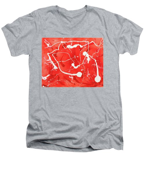 Red Spill Men's V-Neck T-Shirt by Thomas Blood