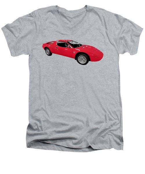 Red Sport Car Art Men's V-Neck T-Shirt