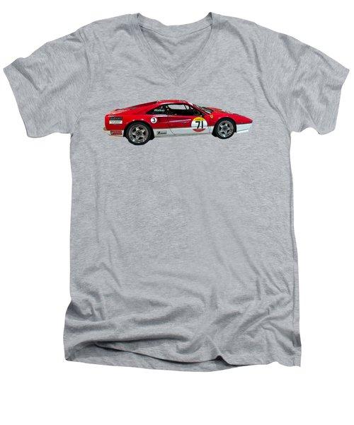 Red Sports Racer Art Men's V-Neck T-Shirt