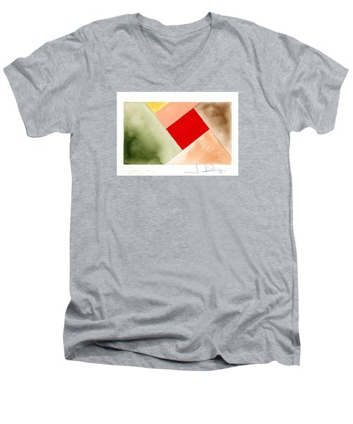 Red Square Tanned Men's V-Neck T-Shirt