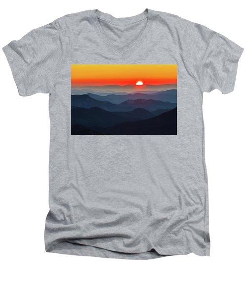 Red Sun In The End Of Mountain Range Men's V-Neck T-Shirt