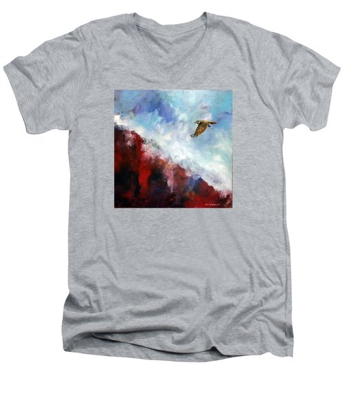 Men's V-Neck T-Shirt featuring the painting Red Tail by David  Maynard