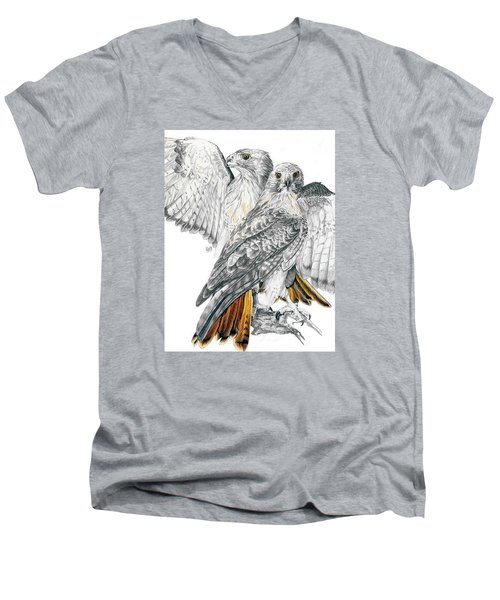 Red-tailed Hawk Men's V-Neck T-Shirt by Barbara Keith