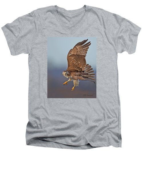 Red-tailed Hawk In Flight Men's V-Neck T-Shirt by CR  Courson