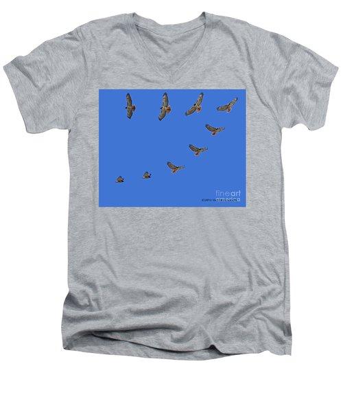 Red Tailed Hawk In Flight Men's V-Neck T-Shirt
