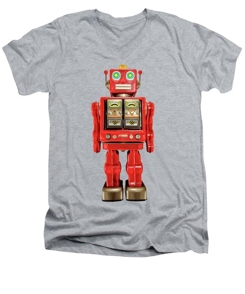 Men's V-Neck T-Shirt featuring the photograph Red Tin Toy Robot Pattern by YoPedro
