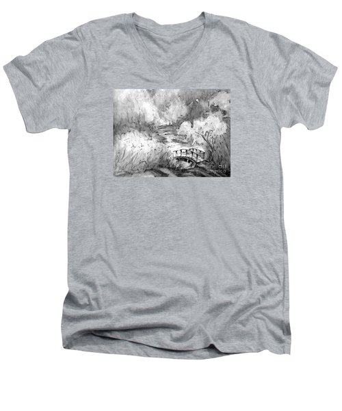 Red Top Mountain Bridge In Black And White Men's V-Neck T-Shirt