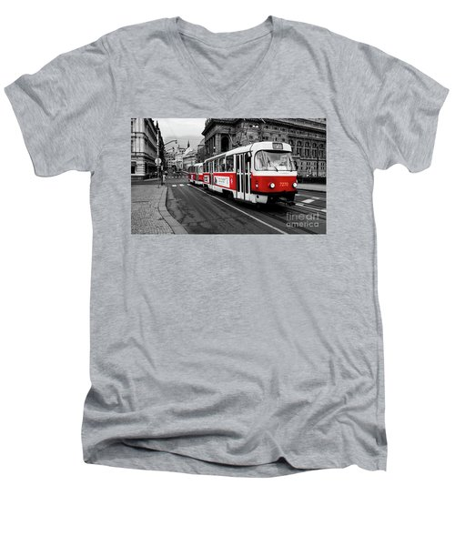 Prague - Red Tram Men's V-Neck T-Shirt