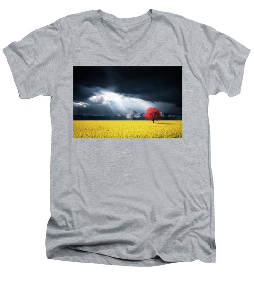 Red Tree On Canola Meadow Men's V-Neck T-Shirt