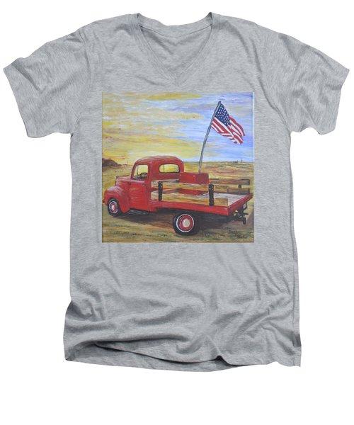 Red Truck Men's V-Neck T-Shirt by Debbie Baker