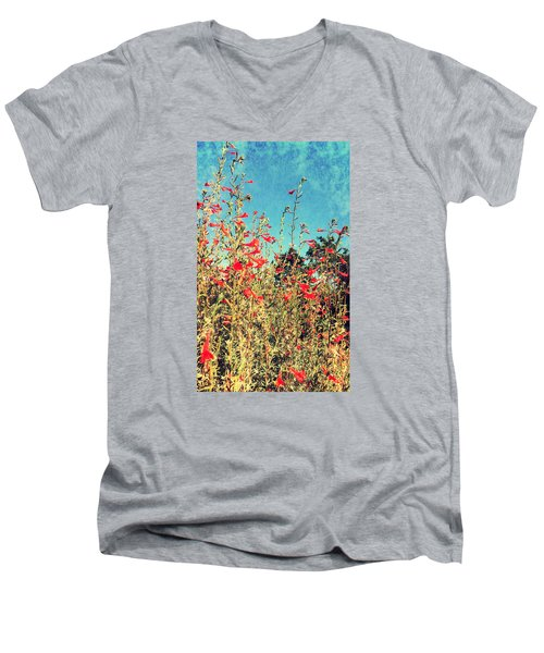 Red Trumpets Playing Men's V-Neck T-Shirt