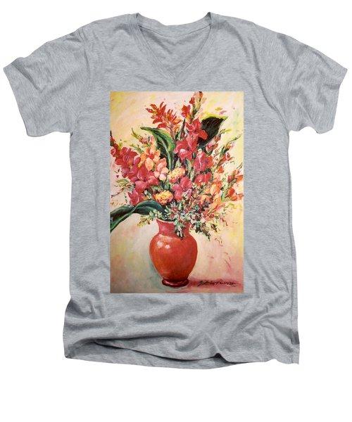 Red Vase Men's V-Neck T-Shirt by Alexandra Maria Ethlyn Cheshire