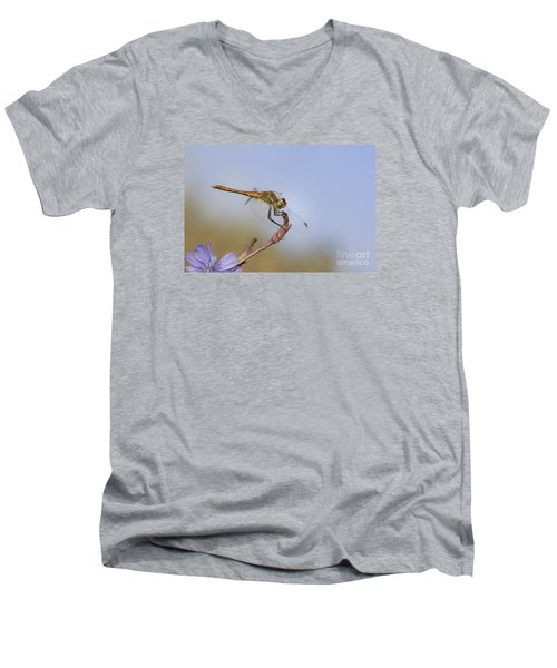 Men's V-Neck T-Shirt featuring the photograph Red Veined Darter Dragonfly by Jivko Nakev