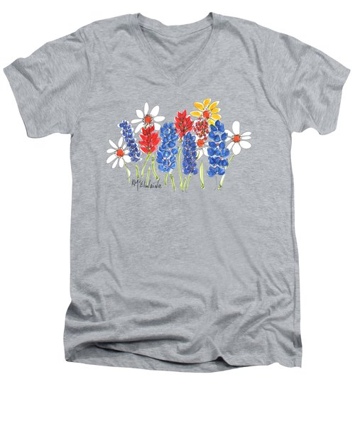 Red White And Blue Garden By Kmcelwaine Men's V-Neck T-Shirt
