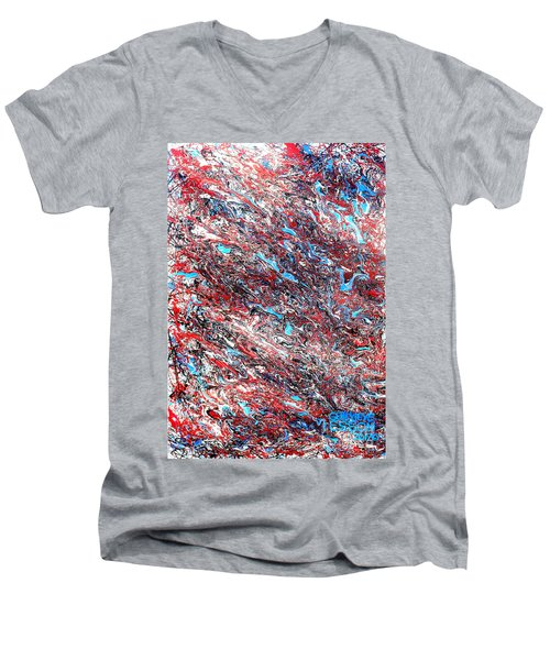 Men's V-Neck T-Shirt featuring the painting Red White Blue And Black Drip Abstract by Genevieve Esson