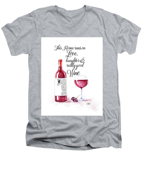 Men's V-Neck T-Shirt featuring the digital art Red Wine by Colleen Taylor