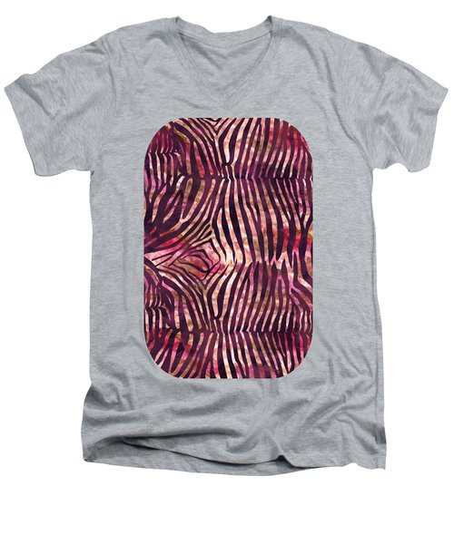 Red Zebra Print Men's V-Neck T-Shirt