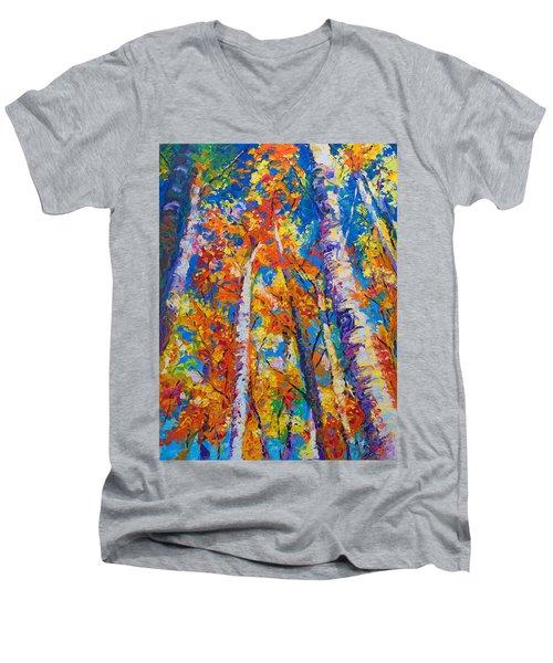 Redemption - Fall Birch And Aspen Men's V-Neck T-Shirt by Talya Johnson