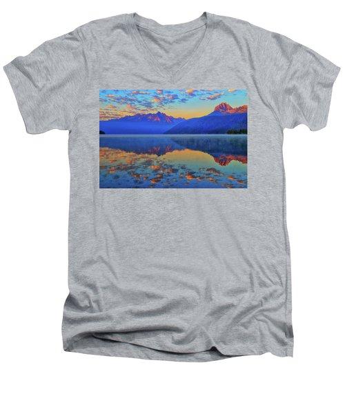 Redfish Lake Morning Reflections Men's V-Neck T-Shirt