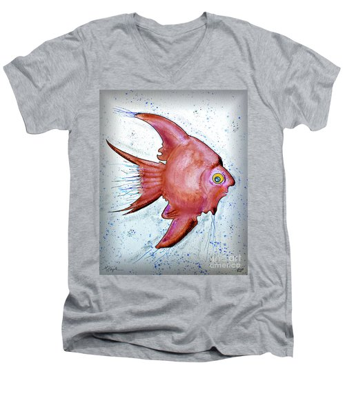 Men's V-Neck T-Shirt featuring the mixed media Redfish by Walt Foegelle