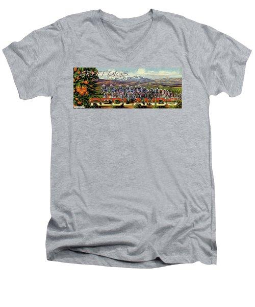 Redlands Greetings Men's V-Neck T-Shirt by Linda Weinstock