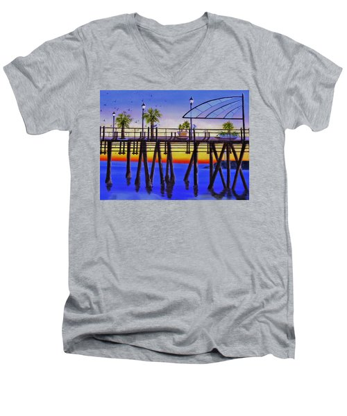 Redondo Beach Pier Men's V-Neck T-Shirt by Jamie Frier