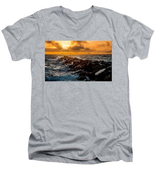 Redondo Beach Sunset Men's V-Neck T-Shirt by Ed Clark