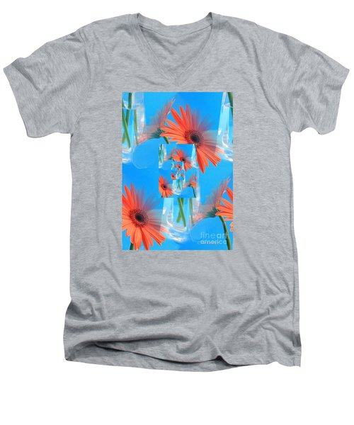 Redundant Gerbera Daisy Men's V-Neck T-Shirt