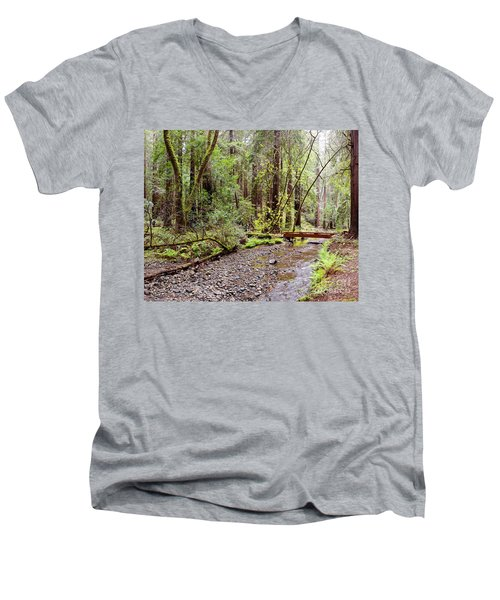 Redwood Creek Flowing Through Muir Woods National Monument - Mill Valley Marin County California Men's V-Neck T-Shirt