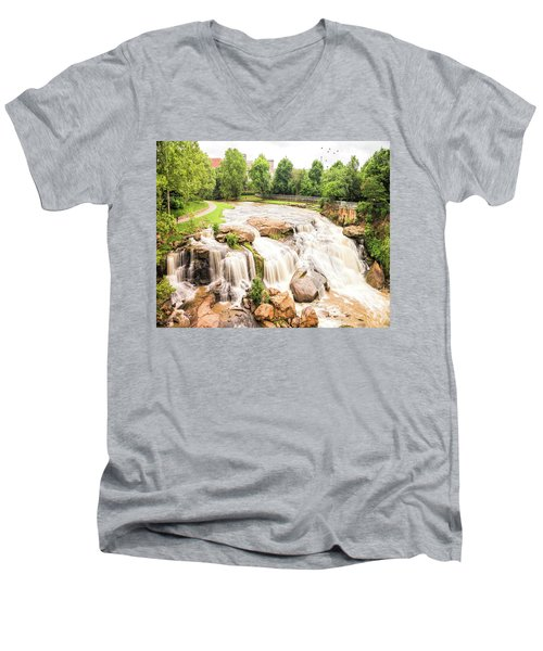 Men's V-Neck T-Shirt featuring the photograph Reedy River Falls Greenville Sc by Bellesouth Studio