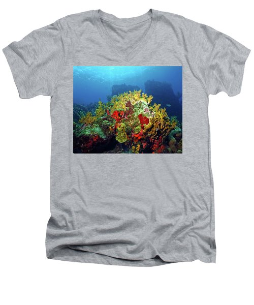Reef Scene With Divers Bubbles Men's V-Neck T-Shirt