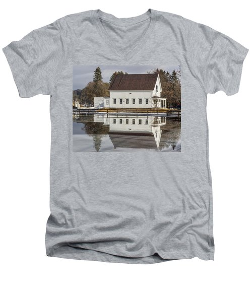 Reflected Town House Men's V-Neck T-Shirt by Tim Kirchoff