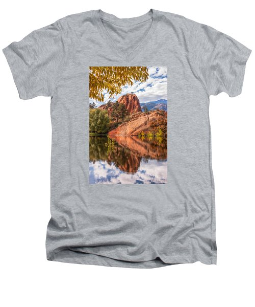 Reflecting At Red Rocks Open Space Men's V-Neck T-Shirt