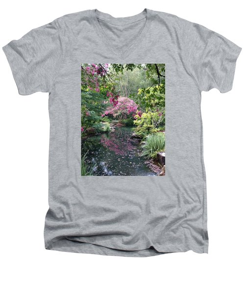 Reflecting Crape-myrtles Men's V-Neck T-Shirt by Linda Geiger