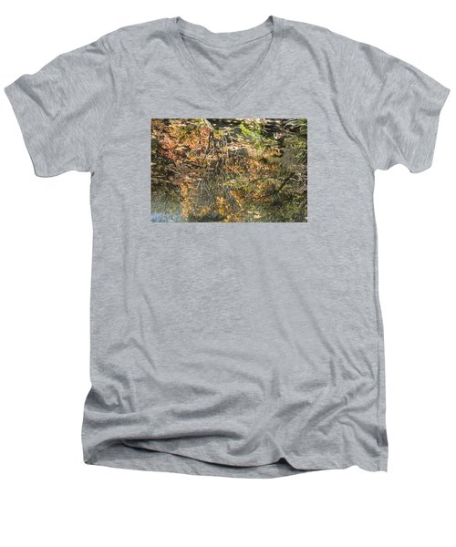 Men's V-Neck T-Shirt featuring the photograph Reflecting Gold by Linda Geiger