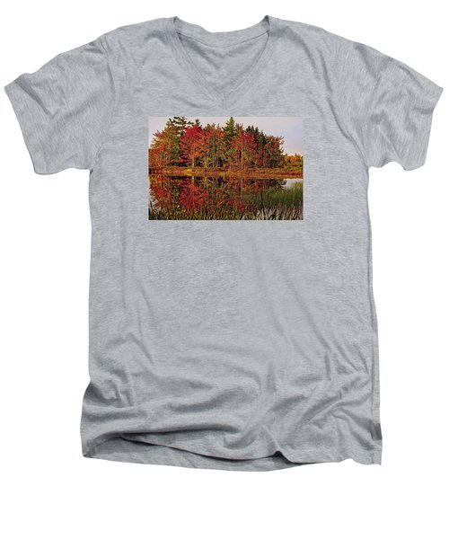 Men's V-Neck T-Shirt featuring the photograph Reflection Island by Kathleen Sartoris