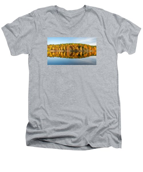Reflection Of Autumn Men's V-Neck T-Shirt by Andreas Levi