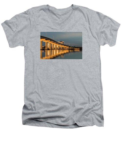 Reflections And Bridge Men's V-Neck T-Shirt by Dorothy Cunningham
