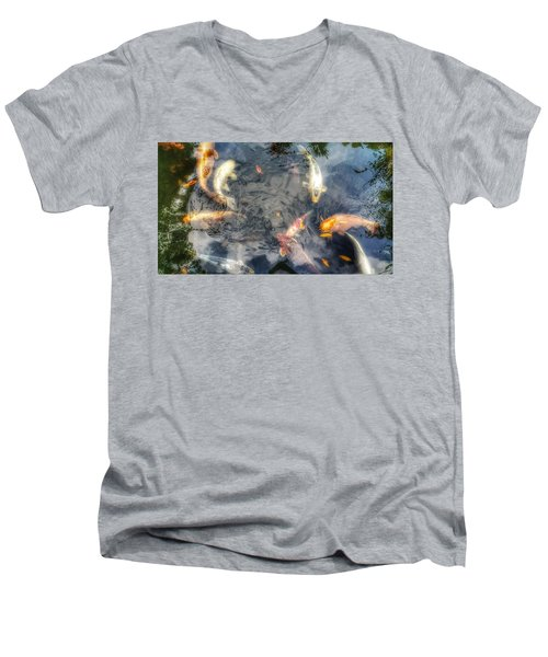 Reflections And Fish 3 Men's V-Neck T-Shirt by Isabella F Abbie Shores FRSA