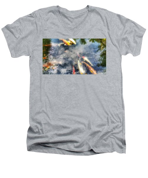 Reflections And Fish 4 Men's V-Neck T-Shirt by Isabella F Abbie Shores FRSA