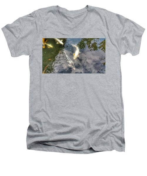 Reflections And Fish 9 Men's V-Neck T-Shirt by Isabella F Abbie Shores FRSA