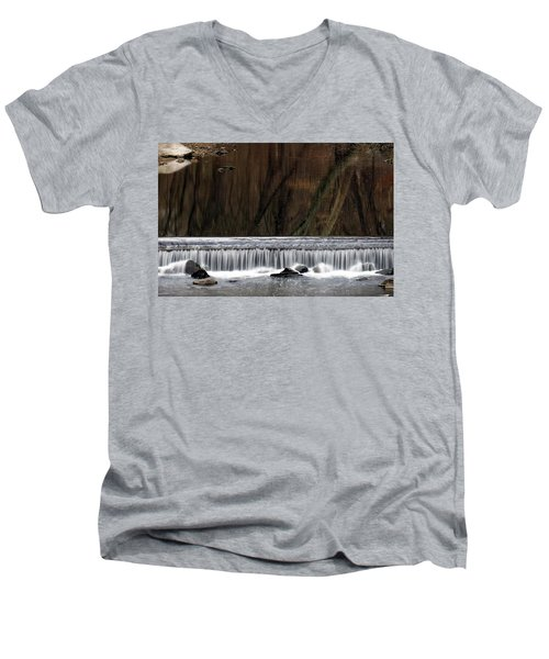 Men's V-Neck T-Shirt featuring the photograph Reflections And Water Fall by Dorin Adrian Berbier