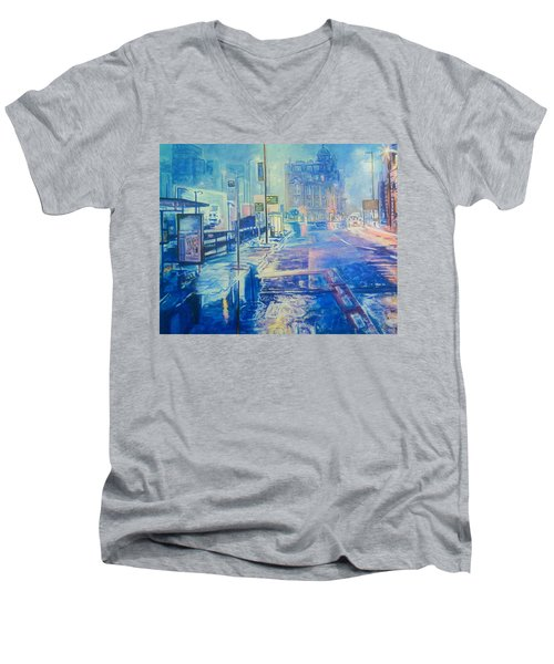 Reflections At Night In Manchester Men's V-Neck T-Shirt